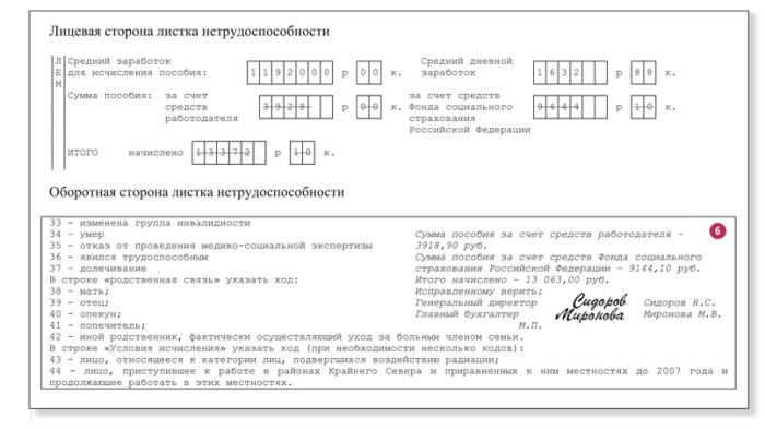 Образец внесения исправлений в больничный лист