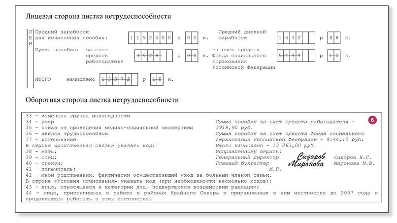 Как сделать исправление в больничном листе образец
