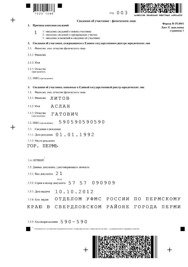 Образец заполнения форму 13001 для увеличения уставного капитала