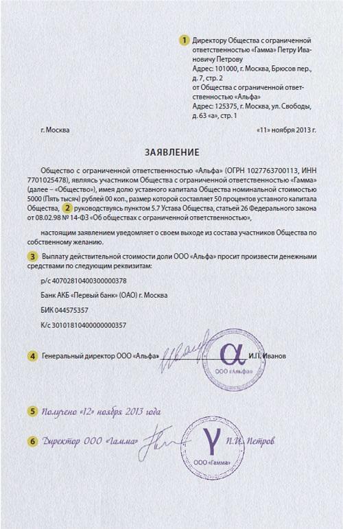 Заявление от имени участника — юридического лица