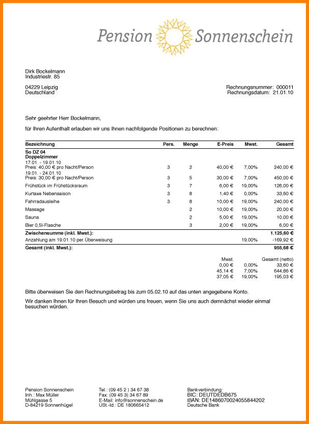 Счёт за гостиницу в Германии