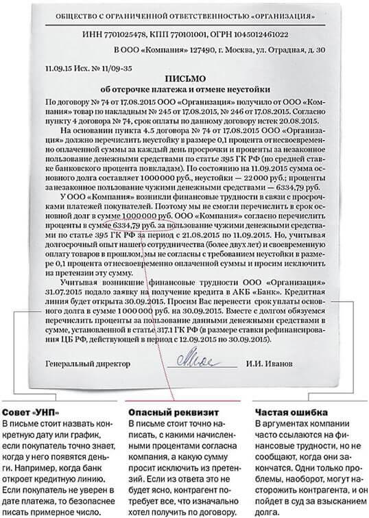 Письмо об отсрочке платежа