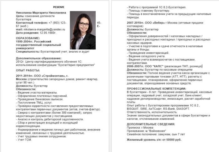 Образец резюме опытного бухгалтера с указанием обязанностей