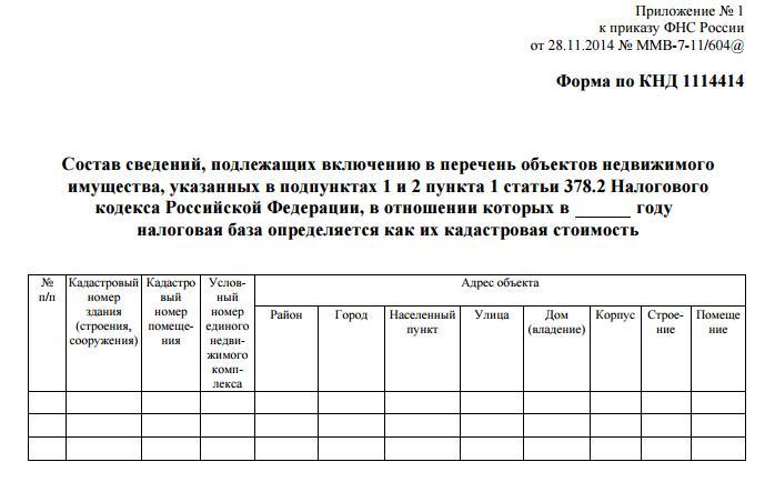 Утверждённая форма КНД 1114414